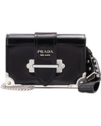 Prada Cahier Leather Shoulder Bag - Black