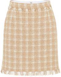 MSGM Fringed Check Skirt - Natural