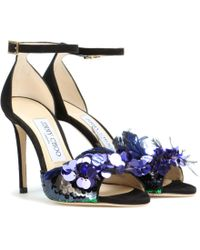 d16fc355fc02 Jimmy Choo - Annie 100 Embellished Suede Sandals - Lyst