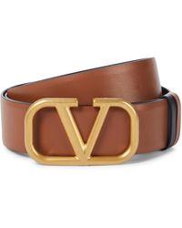 Valentino Garavani Vlogo Leather Belt - Brown