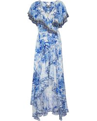 Camilla Bedrucktes Maxikleid aus Seide - Blau