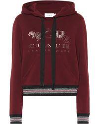 COACH Sweat-shirt à capuche en coton à broderies Rexy - Rouge