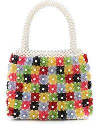 Shrimps Avery Faux Pearl Floral Beaded Handbag - Multicolor