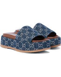 Gucci Plateau-Pantoletten GG aus Denim - Blau