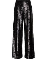 JOSEPH Tawny Wide-leg Sequin Trousers - Black