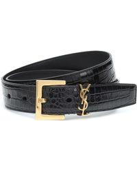 Saint Laurent Monogram Logo Leather Belt - Black