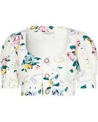 Alessandra Rich Top raccourci en coton à fleurs et ornements - Blanc