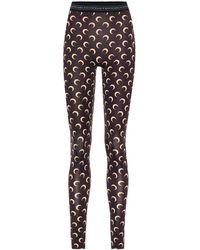 Marine Serre Printed Stretch-jersey leggings - Brown