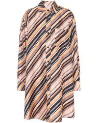Marni Vestido camisero de seda a rayas - Multicolor
