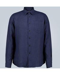 Vilebrequin Hemd Caroubis aus Leinen - Blau