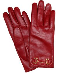 Gucci Handschuhe aus Leder - Rot