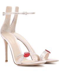 Gianvito Rossi Cherry Portofino embellished satin sandals - Rosa