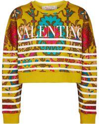 Valentino Exclusive To Mytheresa – Logo Printed Cotton-blend Sweatshirt - Yellow