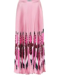 Valentino Feather Print Pleated Skirt Rose - Pink