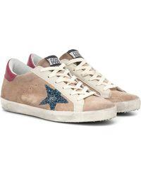 Golden Goose Deluxe Brand - Beige & Blue Suede Superstar Sneakers - Lyst