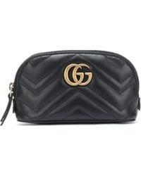 Gucci GG Marmont Small Leather Cosmetics Case - Black