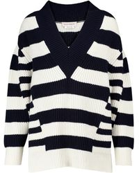 Alexander McQueen Striped Wool And Cashmere Sweater - Blue