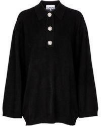 Ganni Embellished Cashmere Sweater - Black