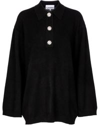 Ganni Jersey de cachemir adornado - Negro