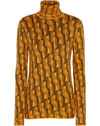 Prada Jersey de cuello alto en mezcla de lana - Amarillo
