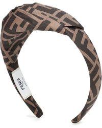 Fendi Logo Silk-twill Headband - Brown