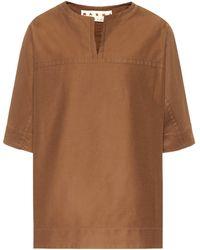 Marni Cotton-blend Top - Brown