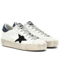 Golden Goose Deluxe Brand Sneakers Hi Star in pelle con glitter - Bianco