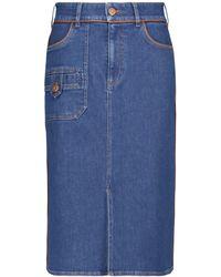See By Chloé Gonna midi di jeans a vita alta - Blu