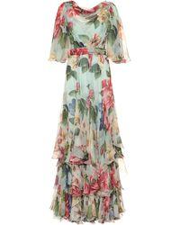 Dolce & Gabbana Floral Silk-chiffon Dress - Multicolour