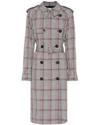 Stella McCartney Trench a quadri in misto lana - Nero