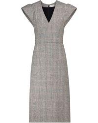 Alexander McQueen - Vestido midi de lana elastizada a cuadros - Lyst