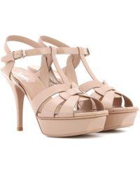 Saint Laurent Tribute 75 Patent Leather Sandals - Natural