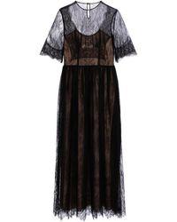 Costarellos Robe longue Kellica à dentelle Chantilly - Noir