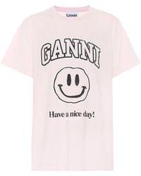 Ganni Bedrucktes T-Shirt aus Baumwolle - Pink