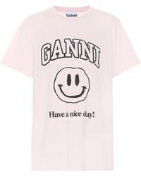 Ganni Camiseta de algodón orgánico - Rosa