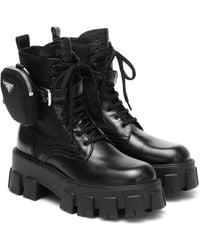Prada Monolith Leather Ankle Boots - Black
