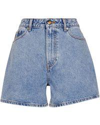 Ganni High-Rise Jeansshorts - Blau