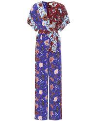 Diane von Furstenberg Jumpsuit a stampa floreale in seta - Blu