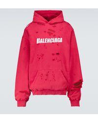 Balenciaga Hoodie Caps Destroyed aus Baumwolle - Rot