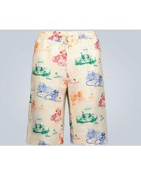 Gucci Leinen-Shorts mit Disney-Print - Mehrfarbig