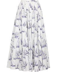 Emilia Wickstead Rhea Printed Cotton Poplin Midi Skirt - White