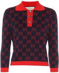 Gucci Cropped-Pullover aus Baumwolle - Blau