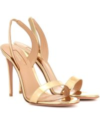 Aquazzura So Nude 105 Patent Leather Sandals - Metallic