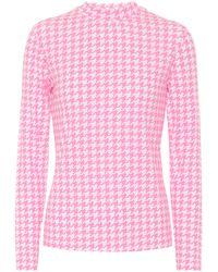 Balenciaga Houndstooth-printed Jersey Top - Pink