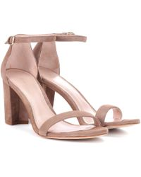Stuart Weitzman - Nearlynude Suede Sandals - Lyst