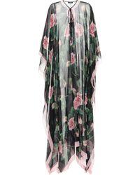 Dolce & Gabbana Floral Silk-chiffon Kaftan - Black