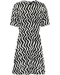 Stella McCartney Robe midi imprimée - Noir