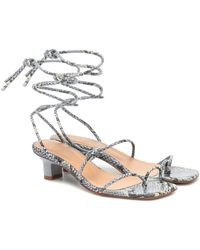 LOQ Roma Snake-effect Leather Sandals - Blue