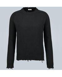 Saint Laurent Pullover distressed in cotone - Nero