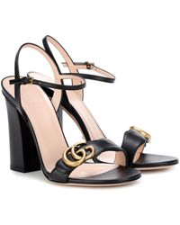 Gucci Sandales à talon carré GG Marmont - Noir